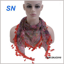 Wholesale Triangle Scarf with Lace Trim