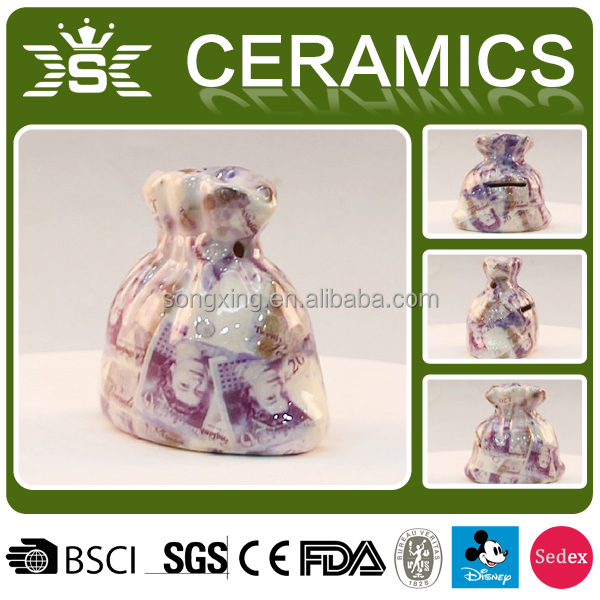Promotional ceramic purse shape coin bank