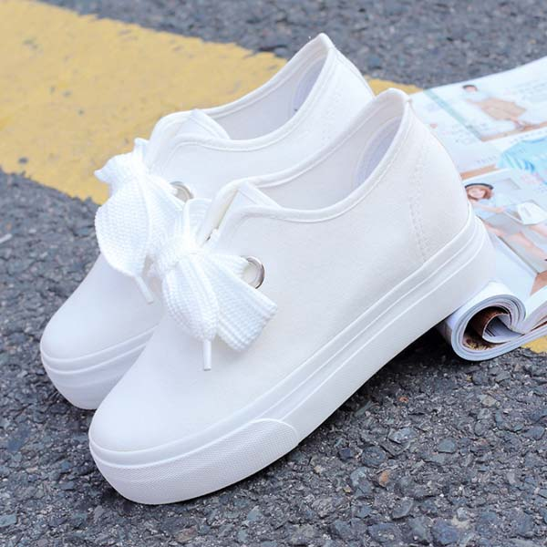 Summer white canvas boots with wild small white shoes students under the thick leisure casual shoes