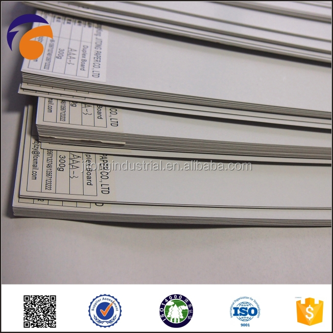 2015JITONG duplex board grey back,provide free samples in the form of a4 paper