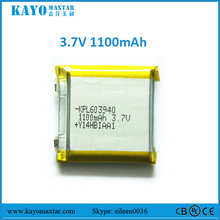 Kayo battery 603940 1100mAh 3.7V rechargeable battery for battery powered camping heater