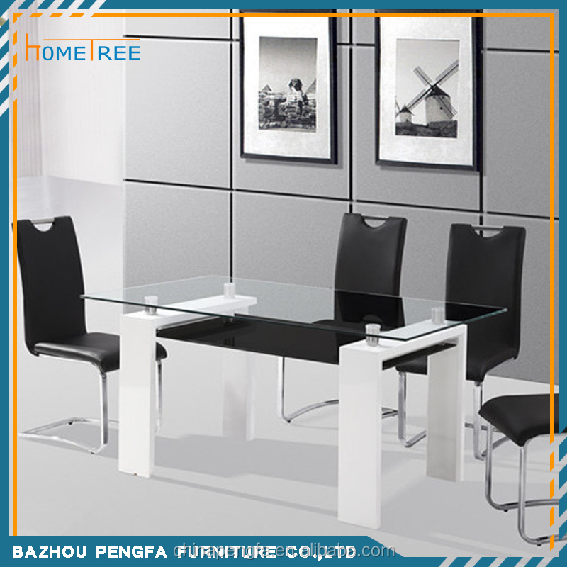 Modern glass top wooden legs conference table with 4 leather chairs