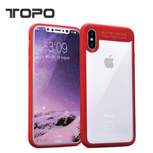 High Clear silicon soft TPU frame bumper Hard PC back cover case For iphone X 7 8 plus