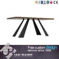 Fashion modern dining room table wooden top dining table