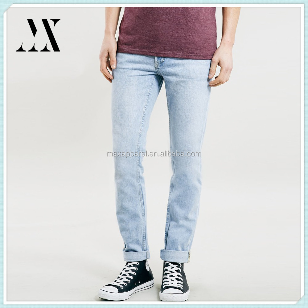 Top quality professional jeans manufactures light wash classic skinny fit denim jeans cotton jeans