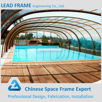 Light space frame swimming pool roof construction
