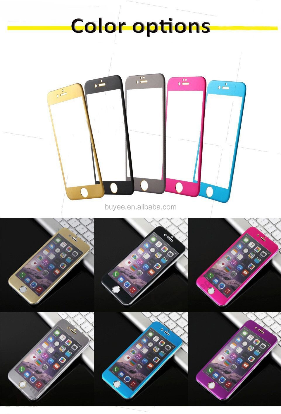 0.33mm 9H Colorful Full Screen Covered Titanium Alloy Tempered Glass for iPhone6 3D Design Complete Covered Screen Guard