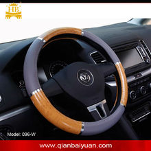 Grey PVC leather yellow wood grain chrome steering wheel cover