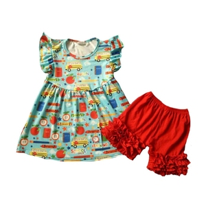 d2763aca33a Back to school flutter sleeve dress yellow school bus pattern middle angle  sleeve dress
