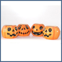 Happy halloween decorative ceramic pumpkin candle jar