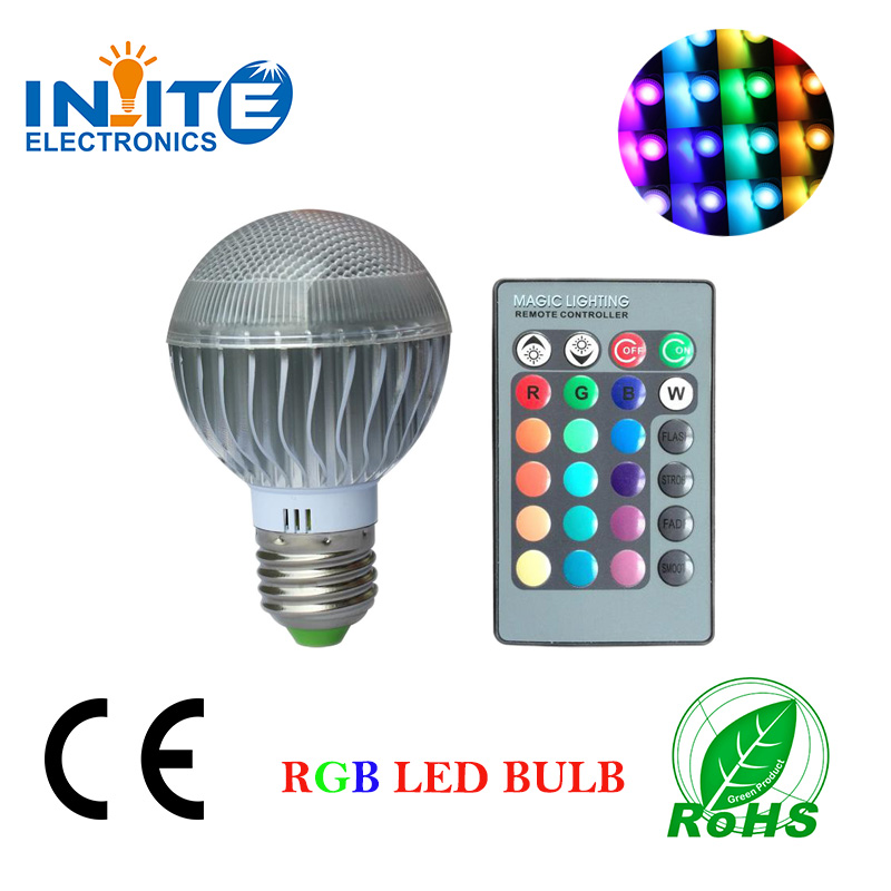 RGB Led indoor light 5W led bulb E27 light remote color Ningbo supplier temperature adjustable