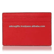square business card cases / red leather credit card holder wallets / real leather name card holders