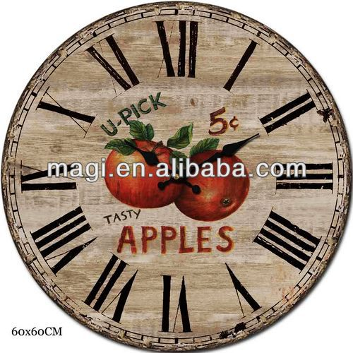 French Antique Apple Shaped Clock Wall Decor