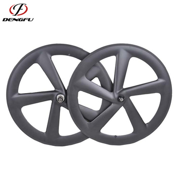 700C 66mm Carbon Road Bicycle 5 tri-spoke Clincher wheels V-Brake 20mm width 3K UD