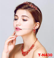 2016 Wholesale new design handmade red jewelry set