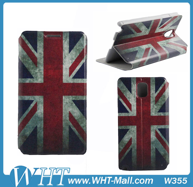New Year Hot Selling Retro Ultra Slim World Flag Case Stand Leather Case For Samsung Galaxy Note 3 N9000 Factory Cheap Price