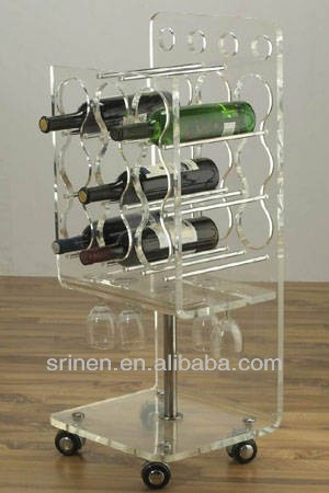 acrylic wine display holder with 4 gyro wheels