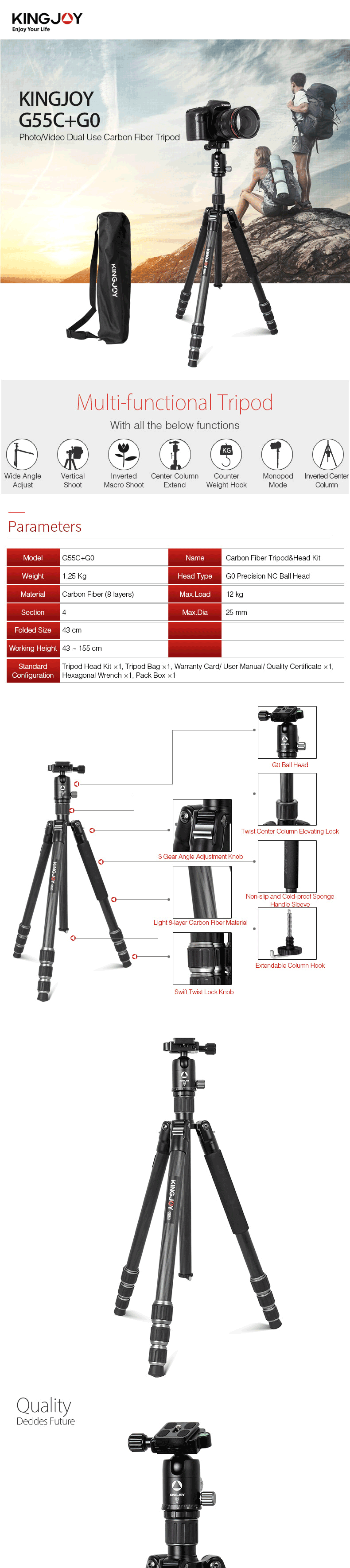Factory Travel Portable Lightweight Ball Head Professional Stand Carbon Fiber DSLR Camera Tripod for Camera