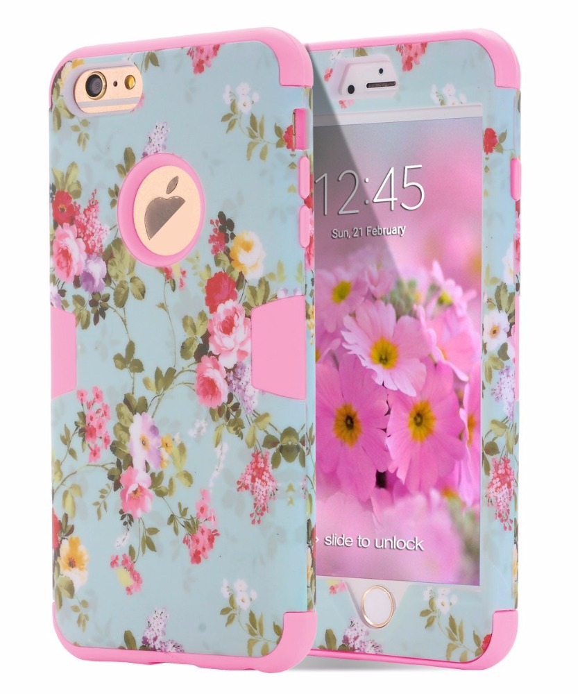[Love Flower Series] Three Layer Heavy Duty High Impact Resistant Hybrid Protective Cover Case For iPhone 7 7plus 6/6s Plus