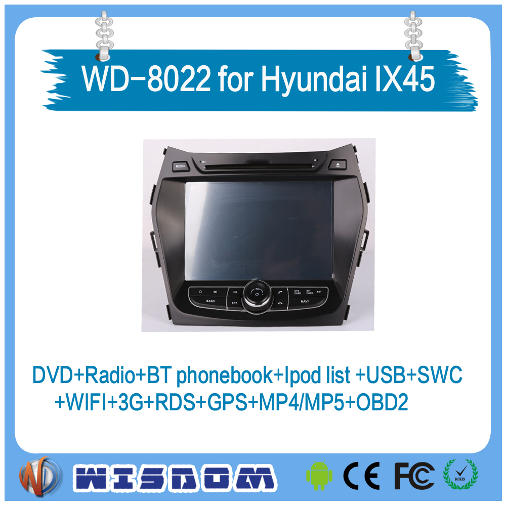 2016 new car gps navigation For Hyundai IX45 with audio amplifier android car multimedia reverse camera wifi bluetooth 3g mp3 CE