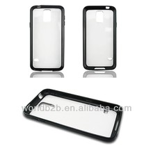 Wholesale price black bumper frame tpu and matt crystal PC hard pc tpu case for samsung s5