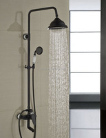"Luxury 8"" Rain Shower Faucet Set Single Handle Tub Spout Mixer Tap W/ Hand Sprayer Oil Rubbed Bronze"