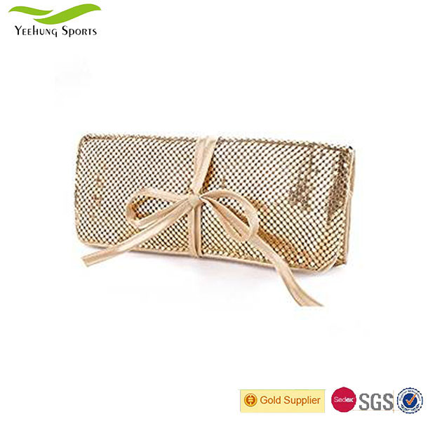 Travel Jewelry Roll Bag Organizer Case Aluminum Metal Mesh Material with Silk Lining Cosmetic Bag
