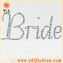 Bridal flatback stone wholesale iron on letter appliques