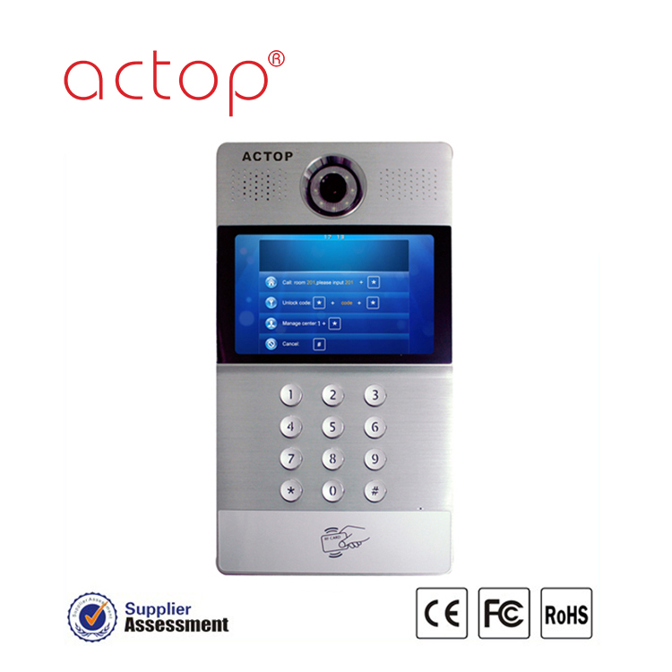 China factory ACTOP New design TCP/IP video door bell for multiple building intercom system 8cm super thin body