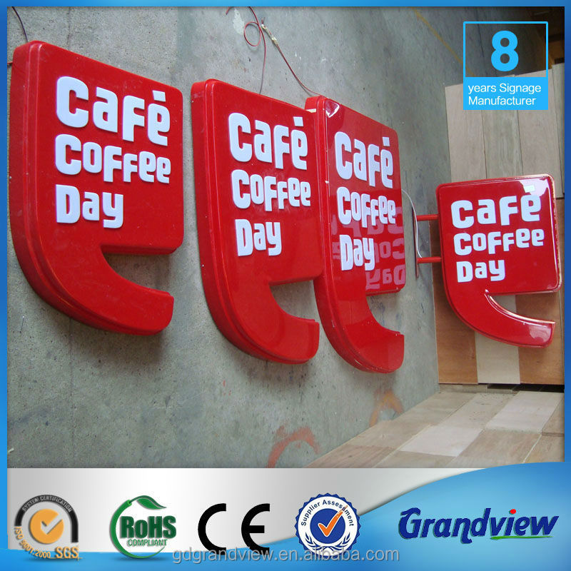 advertising formed signboard light box coffee shop signage