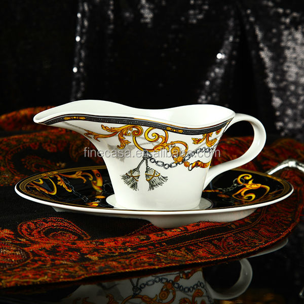 300cc Luxury Bone China Ceramic Gravy Boat of Knight
