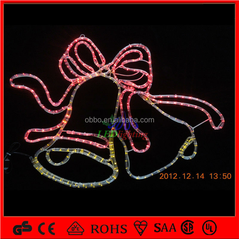 holiday lighting Red Twin bells rope light motifs