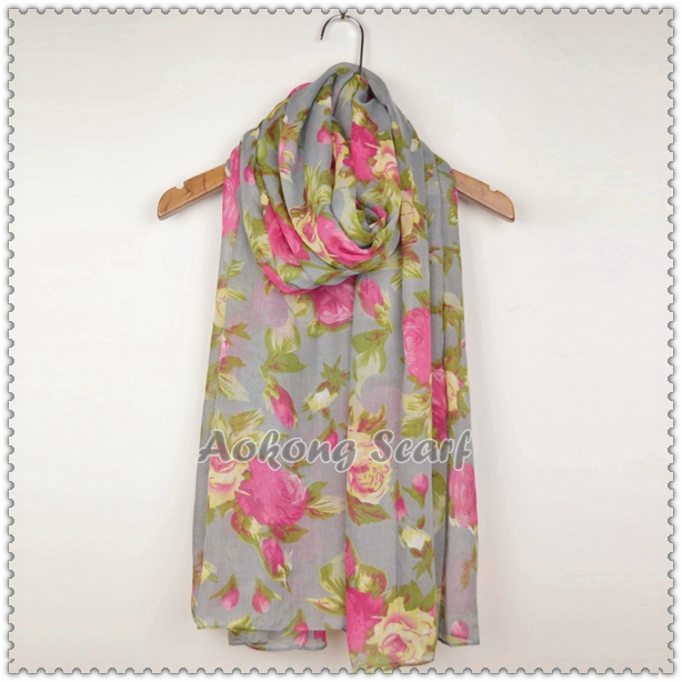 2015 new coming floral shawl fashion flower scarf hijab