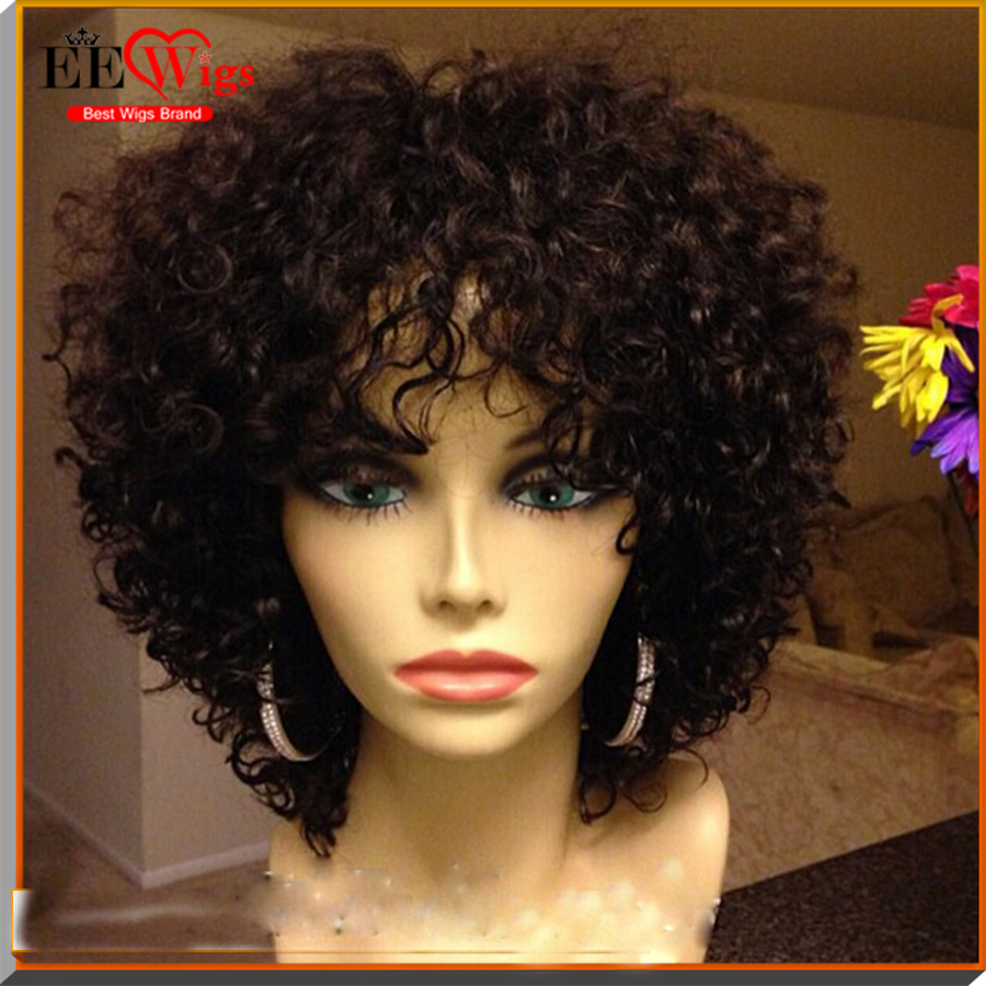9A grade indian cheap short curly human hair wigs for black women