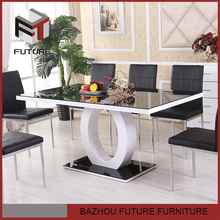 modern glass dining table and chair white and black