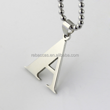 Stainless Steel Silver Alphabet Letter Initial Charm Pendant