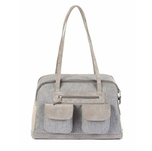 Wool and leather dog Carrier handbag