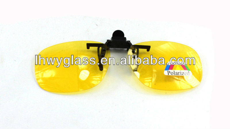 yellow polarized clip on glasses sunglasses for car driver