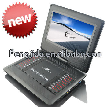 made in guangdong 11 inch portable dvd player with dvd vcd mp3