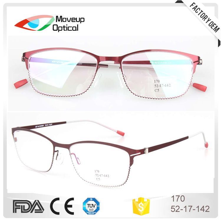 Wholesale half rim women metal optical eyeglasses frames