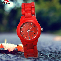 natural beauty stained bamboo wood lady bracelet watch slim waterproof wooden watch