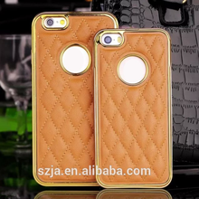Lambskin Diamond Pattern electroplate phone case for iphone 5 SE / iPhone 6 aluminum frame PU back cover