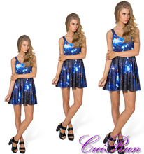 Custom Design Women Summer Dress Blue Galaxy Digital Print Sakter Dress N4-16