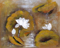 20x25cm-100x100cm Canvas Flower Oil Painting With Vivid Color For Art Gallery