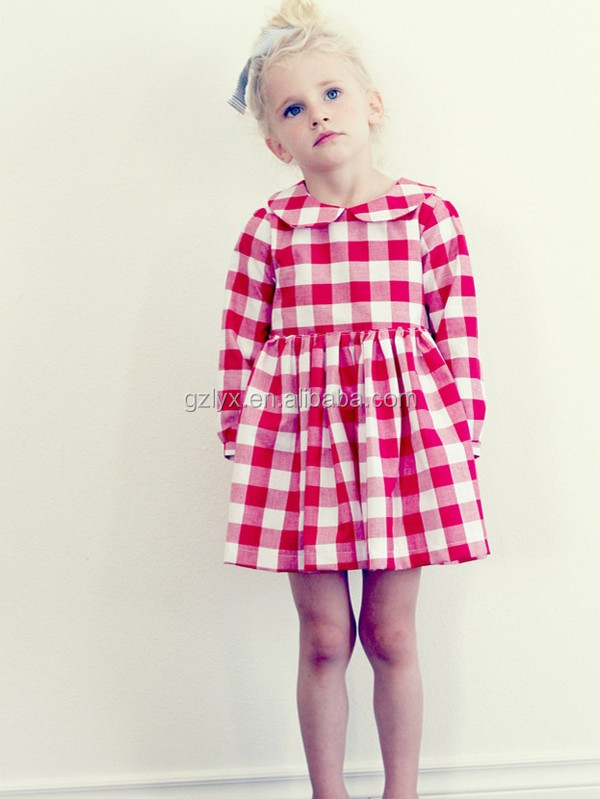 Baby clothes girl fancy frocks lovely long sleeve checked little girl dress of fall boutique girl clothing