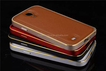 Genuine leather mobile phone case for samsung galaxy s4 metal bumper case