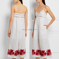 new design pictures of sexy girls wearing jumpsuit embroidered linen sexy spaghetti strap deep v-neck jumpsuit for summer