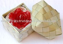 Handmade Rose Candle in Bamboo wicker bamboo basket 9cm (100gms)