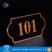 Acrylic printing hotel room number plate with adhesive tape