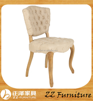 French tufted button back solid wood chair furniture